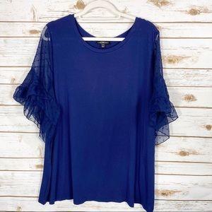 Lane Bryant Blue Bell Sleeve Blouse Size 22/24